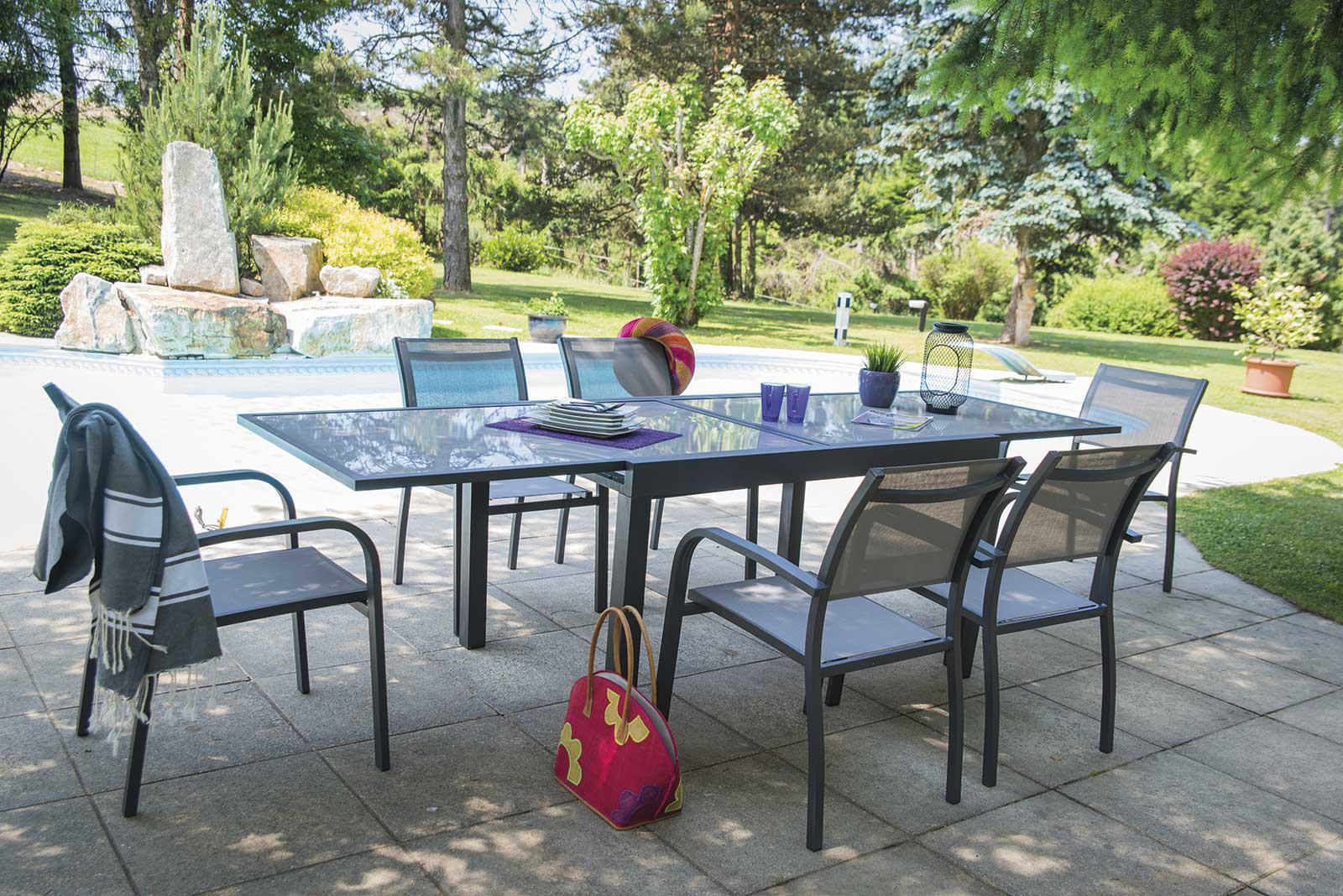 Table de jardin + 6 chaises Design et confort HONFLEUR - AQUAPOLIS